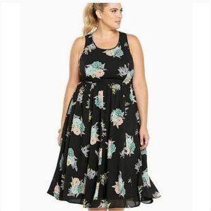 Torrid Floral Georgette Sleeveless Midi Dress